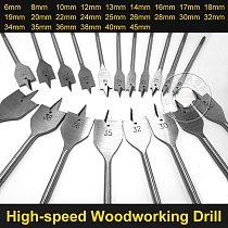 HOEN 6-45mm Flat Drill Long High-carbon Steel Wood Flat Drill Set Woodworking Spade Drill Bits Durable Woodworking Tool Sets