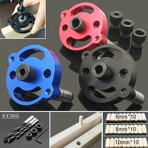 6/8/10mm Self Centering Wood Dowel Pocket Hole Punch Locator Vertical Jig Drill Guid Puncher Woodworking Tools Guide Kit