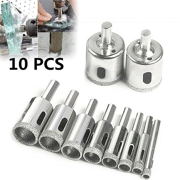 10 Pcs 6-30mm Diamond Glass Drill Bit Marble Ceramic Tile Hole Opener Bead Rounder Glass Ceramic Tile Saw Cutting Tool