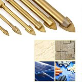 5pcs Glass Drill Bit Set Tungsten Carbide Tipped Ceramic Tile Cutter with 1/4  Hex Shank Titanium Coated Power Tools Accessories
