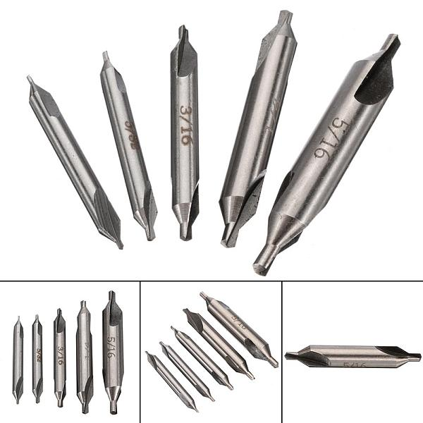 5Pcs/Set 60 Degree HSS Center Spotting Drill Bits Combined Countersink Bits Chamfer Drill Bits For Processing