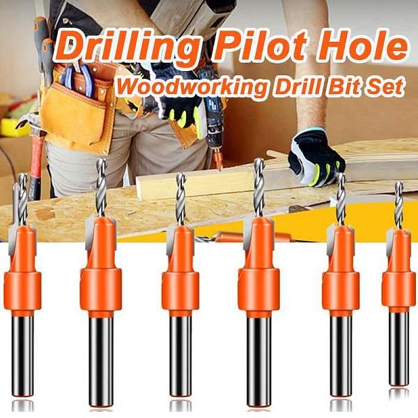 6 Size Hss Countersink Drill Bit Woodworking Screws Chamfering Wood Hole Drills Bit Countersinking round Shank Timber Working