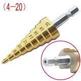 1pc Step Drill Bit Hss Titanium Coated Step Cone Metal Hole Cutter 4-12/20mm Metal Hex Tapered Drill Power Tools Accessories