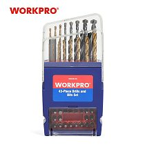WORKPRO 43PC Drill Bits Set for Concrete Brick Wood Glass Ceramic Tile Plastic