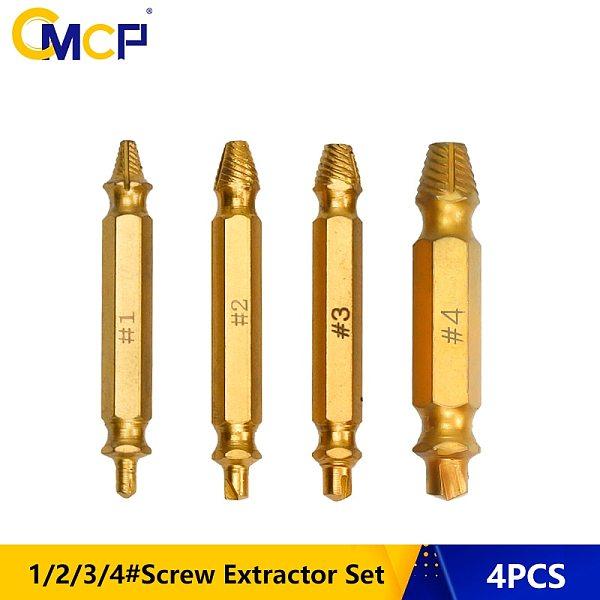 4pcs 1# 2# 3# 4# Damaged Screw Extractor Drill Bits Guide Set Titanium Coated Screw Remover Tool HSS Broken Screw Extractor