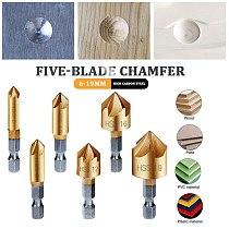 3pcs/5pcs 6-19mm Countersink Drills For Drilling Set Drill Bit Tools 5 Flutes HSS 1/4 Inch Hex Shank Chamfer Metal Cutter Tool