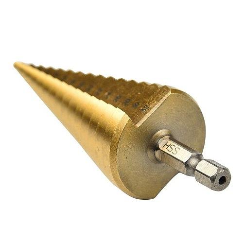 3Pc Step Drill Bit Set Cone Hole Cutter Taper Metric 4 - 12 / 20 / 32mm 1 / 4 Inch Titanium Coated Metal