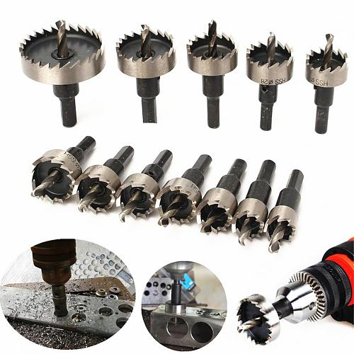 12pcs/lot  15-50mm HSS Drill Bit Set Holesaw Hole Saw Cutter Drilling Kit Hand Tool for Wood Stainless Steel Metal