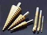 6Pcs HSS Steel Titanium Step Drill Bit Set 4-12/20/32mm Metal Hole Cutter Wood Cone Core Drilling Hole Saw Tool+3,6,8 Saw Drill