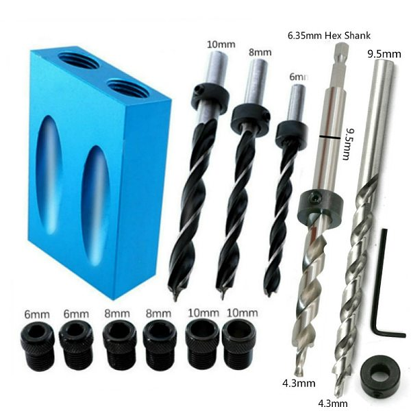 Woodworking Pocket Hole Jig Kit Oblique Hole Locator Drill Bits 15 Degree Angle Drill Guide Set Hole Puncher DIY Carpentry Tools