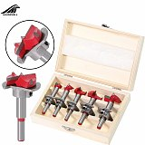 5pcs Forstner Auger Drill Bit Set Dia 15 20 25 30 35mm Wood Cutter Hex Wrench Woodworking Hole Saw For Power Tools Wooden Box