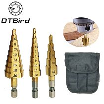1pcs 3-13mm HSS Titanium Coated Stepped Drill Power Tools Carbide Drill Mini Drill Bit Set 3-12mm 4-12mm 4-20mm DT6