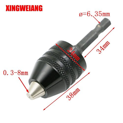 Drilling Chuck Clip 6.35mm Hex Shank  Clamping Range 0.3-8mm Screwdriver Drill Grinder Converter