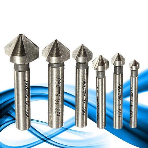 Round shank 6pcs 3 Flute 90 Degree HSS Chamfer Chamfering Cutter End Mill Tool Countersink Drill Bit Set 6.3-20.5MM