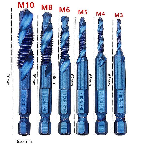6pcs M3-M10 1/4  hex shank Combination Drill Tap Bit Set HSS 6542 Blue Nano Coated Deburr Countersink Drill Bit For Metalworking
