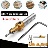 1pcs Hss Timber Wood Working Countersink Drill Bit Kit Screw Cutter 3mm x 8mm Shank For Metal Wood Alloy