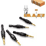Oauee 5X HSS Drill Bit Countersink Wood Drill Bit Set Cordless Step Drill Bits for Metal Woodworking #5 #6 #8 #10 #12