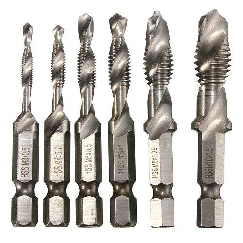 6Pcs HSS Drill Tap Countersink Drilling Deburr Set Metric Combination Drill Tap M3-M10 Top Quality