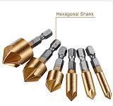 Vastar 6pcs HSS Chamfer Countersink Chamfer Drill Bit set 1/4  Hex Shank 90 Degree Wood Chamfering Cutter 6mm-19mm