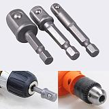 3PCS Hex Shank Wrench Drive Power Drill Socket Drill Adapter Socket Extension Bit Adaptor Set 1/4 3/8 1/2 Screwdriver Tools