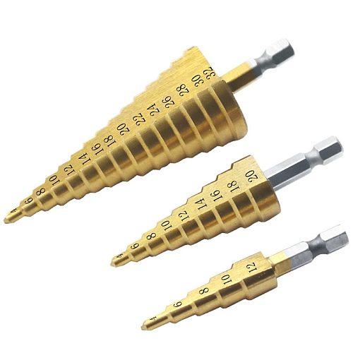 4-12mm 4-20mm 4-32mm Large HSS 4241 Steel Step Cone Drill Countersink Titanium Bit Set Hole