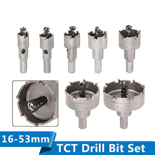 XCAN TCT Drill Bit 16-53mm Hole Saw Set Carbide Tipped Wood Metal Core Drill Bit Hole Saw Cutter