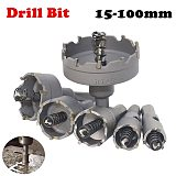 Qualuty 1pc Carbide Core Drill Bit Hole Saw Metalworking Cutter Stainless Steel Alloy Metal  Drilling Tip 15-100mm Drill Bit Set