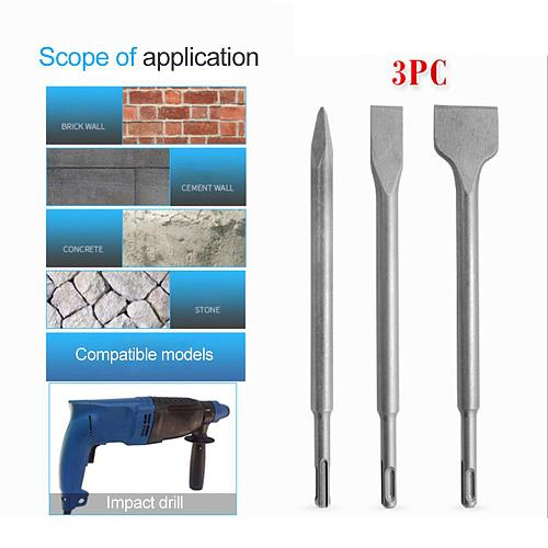3pcs Electric Hammer Drill Bit Durable Steel Wall Shovel Sharp Chisel Flat Chisel Concrete Stone Wall Drilling Accessories