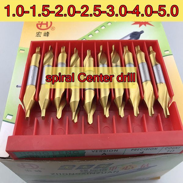 1.0-1.5-2.0-2.5-3.0-3.5-4.0-5.0mm 10pcs/set HSS titanium spiral Center drill Processing: steel Free shipping