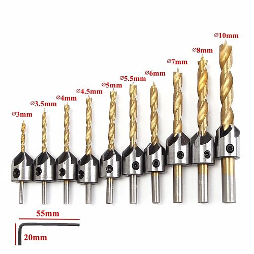 3-10mm 5 Flute Round Handle HSS Countersink Drill Bit Set Drilling Pilot Holes Carpentry Reamer Woodworking Chamfer Tools