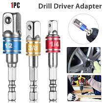 Wrench Socket Adapter Drill Blts Set Hex Shank Square Nuts Driver Drill Impact Socket Extension Bit Adapter Socket(3 Size)