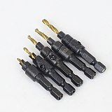 5pcs Countersink Drill Woodworking Drill Bit Set Drilling Pilot Holes For Screw Sizes #5 #6 #8 #10 #12