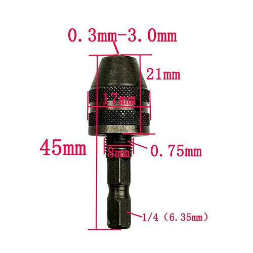 1/4  Professional 6mm Keyless Chuck Driver Screwdriver Drill Bit Hex Shank Adapter Converte Quick Change ALI88
