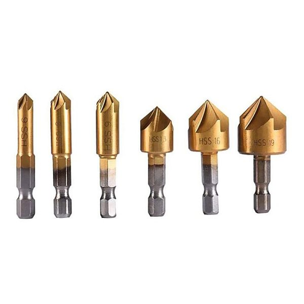 HSS Countersink Chamfer Drill Bit 1/4  Hex Shank Titanium Coated Woodworking Core Dril Bit Power Tool Accessories 6pcs 5 Flutes