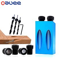 Oauee Pocket Hole Jig Replaceable 6 8 10mm Drill Guide Magnetic Back Dowel Jig Kit Wood Drill for Wood Jointing Aluminum alloy