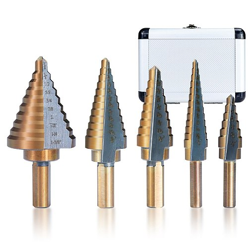 5pcs HSS High Speed Steel Step Drill Bit Cobalt  Step Drill for Metal Wood Hole Cutter Core Drill Bit