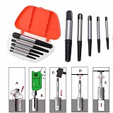 5pcs/set High Carbon Steel Damaged Screw Extractor Easy Out Set Drill Bits Broken Bolt Stud Remover Tools with Plastic Box