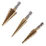 3pcs HSS Steel Titanium Step Drill Bit 3-12mm 4-12mm 4-20mm Step Cone Cutt Tools Woodworking Wood Metal Drill Bit Set