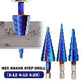 3PCS 4-12 / 20 mm Drill Bit HSS Spiral Groove Center Solid Carbide Drill P6M5 Super Blue Nano Coating Step Cone Drill Bit