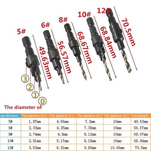 5pcs 5 6 8 10 12 Countersink Drill Bits 1/4 Hex Quick Change Shank Wood Drilling Tool Set + Hex Shank