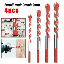 4pcs Multifunctional Ceramic Wall Drill Bit 6/8/10/12MM Tile Drill Bit Set Glass Marble Hole Opener Hand Drill Alloy Drill Bit