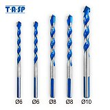 TASP 5pcs Multi Purpose Construction Triangle Drill Bit Set Carbide Tip for Masonry Tile Ceramic Wood Metal Drilling 6-10mm