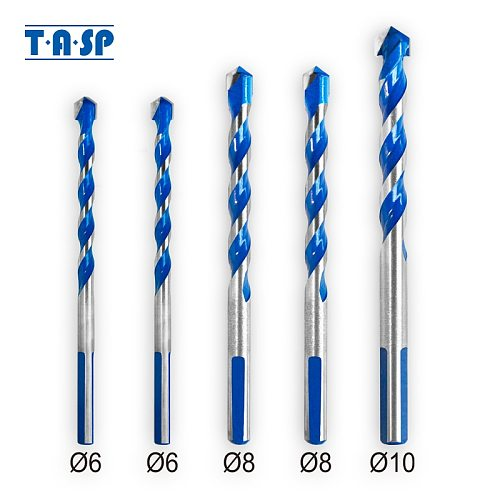 TASP 5pcs Multi Purpose Construction Triangle Drill Bit Set Carbide Tip for Masonry Tile Ceramic Wood Metal Drilling 6-10mm