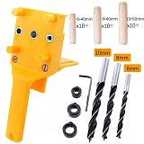 Quick Wood Doweling Jig ABS Plastic Handheld Pocket Hole Jig System 6/8/10mm Drill Bit Hole Puncher For Carpentry Dowel Joints