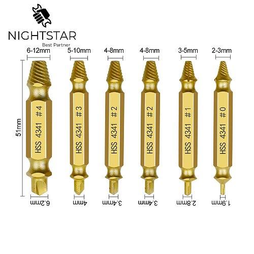 Krachtige HSS4341 6Pcs Gold Screw Extractor Set Drill Bits Easy Out Guide Broken Damag Screws Bolt Remover