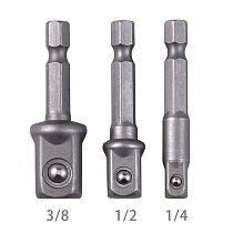 Steel Socket Adapter Hex Shank to 1/4  3/8  1/2  Extension Drill Bits Bar Hex Bit Set Power Tools For Screwdriver  3pcs/set