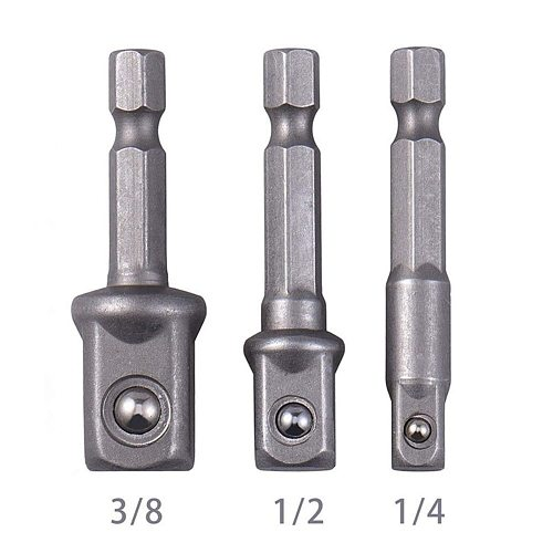 Steel Socket Adapter Hex Shank to 1/4  3/8  1/2  Extension Drill Bits Bar Hex Bit Set Power Tools For Screwdriver  3pcs/set