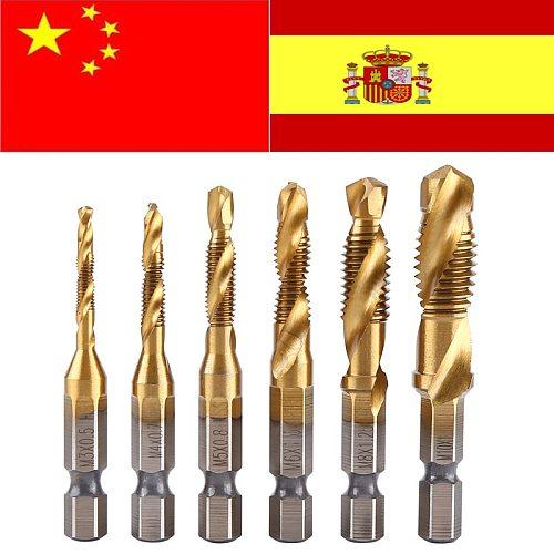 6pcs Drill Bit  Metric Thread M3-M10 Titanium Coated HSS Drill and Tap 1/4  Hex Shank metaal boor broca quadrada foret conique