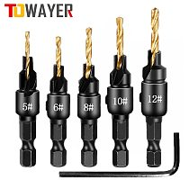 Towayer 5X HSS Drill Bit Countersink Wood Drill Bit Set Cordless Step Drill Bits for Metal Woodworking #5 #6 #8 #10 #12