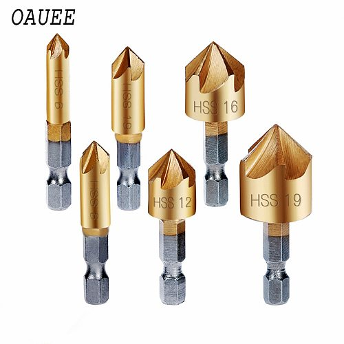 Oauee 6 Pcs Countersink Drill Bit Set 1/4'' Hex Shank HSS 5 Flute Countersink 90 Degree Wood Chamfering Cutter Chamfer 6mm-19mm